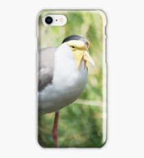 Masked Lapwing (Vanellus miles) hiding in the bush iPhone Case/Skin