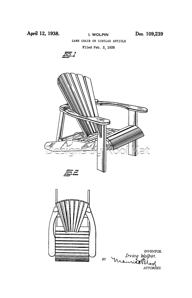 Adirondack Chair Patent Drawing Design\