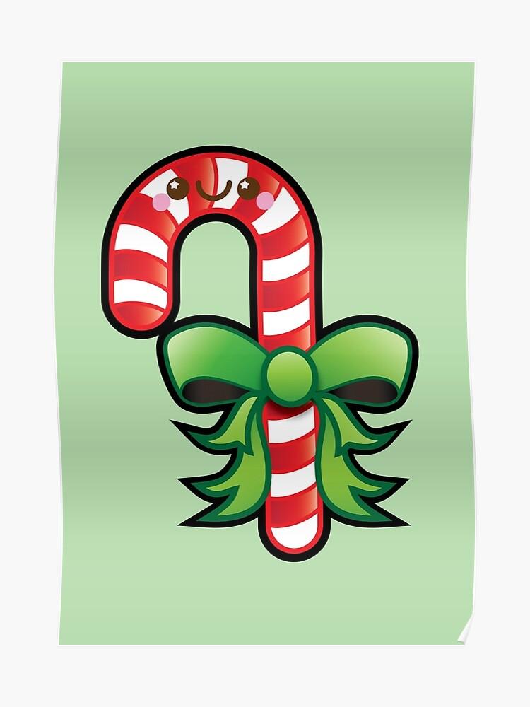 Kawaii Christmas.Cute Kawaii Christmas Candy Cane Poster