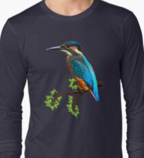 Cute and Colorful elegant kingfisher watercolor blue Bird T-Shirt