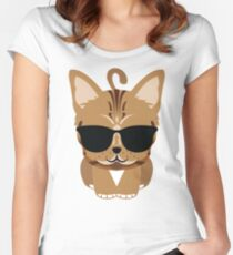 Bengal Cat Emoji Cool Sunglasses Look Women's Fitted Scoop T-Shirt