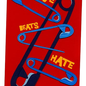 Love Beat Hate Red and Blue Safety Pins by sagworks