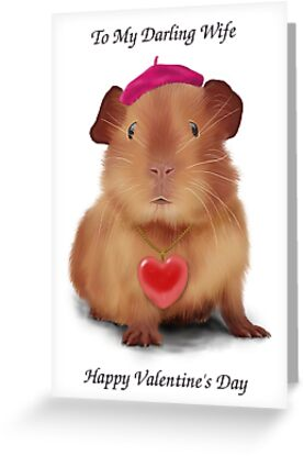 "Guinea Pig Valentine's Day Card ""To Wife"" by keefrog"