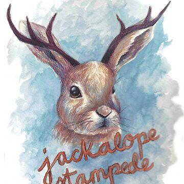Jackalope Stampede by katiecanary