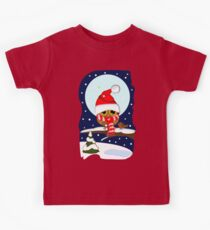 Baby Owl with oversized Santa hat and scarf Kids Tee