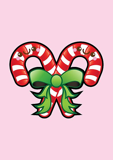 Kawaii Christmas.Cute Kawaii Christmas Candy Cane Photographic Print By Ladypixelle