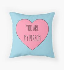 You are My Person | Love Couple | Friendship Pink Heart Print  Throw Pillow
