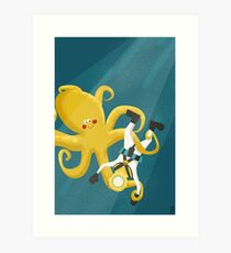 Octopus and Deep Sea Diver Prints, Posters, Pillows Art Print