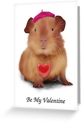 "Guinea Pig Valentine's Day Card ""Be My Valentine"" by keefrog"