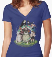 Studio Ghibli Women's Fitted V-Neck T-Shirt