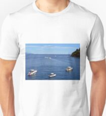6 August 2016 Boats in the water in the Bay of Portofino, province of Genoa, in Liguria, northern Italy T-Shirt