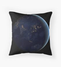 Full Earth at night showing city lights of Asia and Australia. Throw Pillow