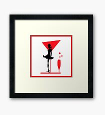 Abstraction woman black tones and RED. Christmas illustration.  Framed Print
