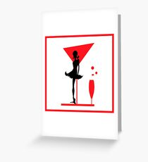 Abstraction woman black tones and RED. Christmas illustration.  Greeting Card