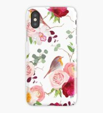 Natural vector seamless pattern with cute robin birds and bouquets of peachy roses, white and burgundy red peony, orchid, eucalyptus, green plants mix and ranunculus in japanese style iPhone Case/Skin