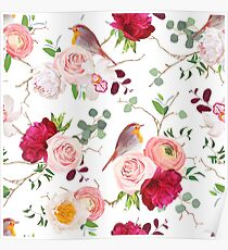 Natural vector seamless pattern with cute robin birds and bouquets of peachy roses, white and burgundy red peony, orchid, eucalyptus, green plants mix and ranunculus in japanese style Poster