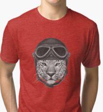 Portrait of Leopard in Vintage Helmet. Tri-blend T-Shirt