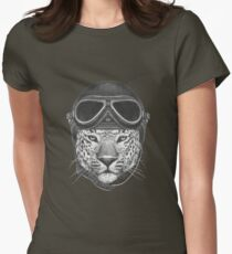 Portrait of Leopard in Vintage Helmet. Womens Fitted T-Shirt