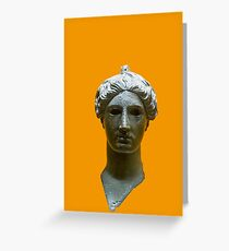 Bronze head of Nike (victory) 420 BCE. Digitally enhanced  Greeting Card