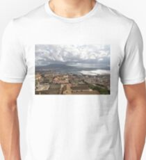 Naples Italy Aerial Perspective - God Rays Clouds and Vistas Unisex T-Shirt