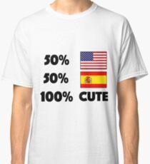 50% American 50% Spanish 100% Cute Baby USA Spain Classic T-Shirt