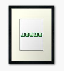 text cool pixel gamer retro 8 bit muster kreuz christ logo design schriftzug jesus christus  Framed Print