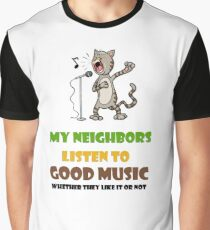 Music lovers, cool design with singing cat Graphic T-Shirt