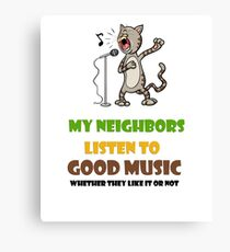 Music lovers, cool design with singing cat Canvas Print