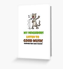 Music lovers, cool design with singing cat Greeting Card
