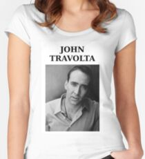 Nicolas Travolta... John Cage... WTF? Women's Fitted Scoop T-Shirt