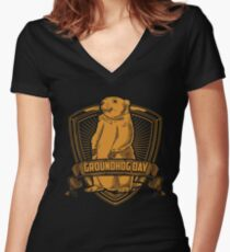 Groundhog Day With Groundhog Women's Fitted V-Neck T-Shirt