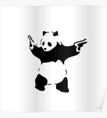 panda bear with guns Poster