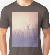 The morning mist on forest edge. Spring morning. Naked tree in the haze. Soft pastel colors of violet and beige T-Shirt