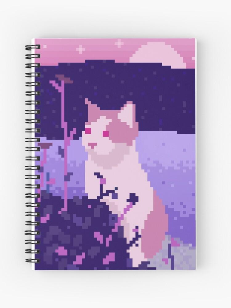 Cute Pixel Art Cat Spiral Notebook