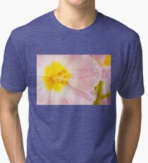 Yellow stamen of pink tulip macro inside  Tri-blend T-Shirt