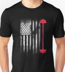 Weight lifting bodybuilding muscles body america pride flag usa sport Unisex T-Shirt