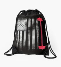 Weight lifting bodybuilding muscles body america pride flag usa sport Drawstring Bag