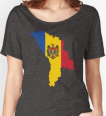 Moldova Flag Map Women's Relaxed Fit T-Shirt