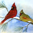cardinals on a pine branch wintry handmade aquarelle by veerapfaffli