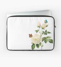 White rose with butterflies Laptop Sleeve