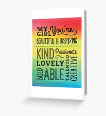 My Girl Compliments Typography Design Greeting Card