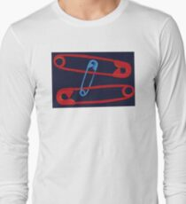 Safety Pin #19 - red,blue, Navy Long Sleeve T-Shirt