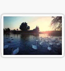 Sunset over the lake with swans. Beautiful view of the wooden house on an island on Lake Balaton Sticker