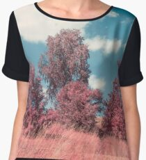 Pink trees. Infrared photo style. Summer time. A field grass with trees. Rural landscape Chiffon Top