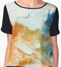 Orange and blue abstract  Chiffon Top