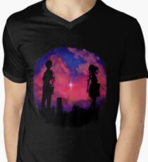 Anime sunset Mens V-Neck T-Shirt