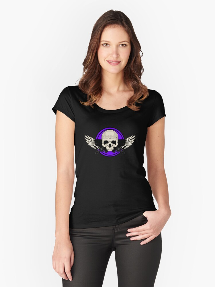 Wing Skull - PURPLE Women's Fitted Scoop T-Shirt Front