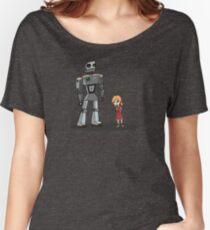 Cute Little Girl And Tall Metal Robot Cartoon Design Women's Relaxed Fit T-Shirt