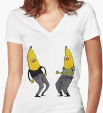 bananas in regular clothing Women's Fitted V-Neck T-Shirt
