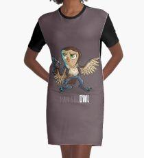 Han Sol-OWL Graphic T-Shirt Dress